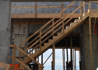 wood stairs for construction crew
