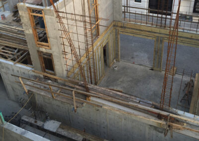concrete construction nearly finished framing