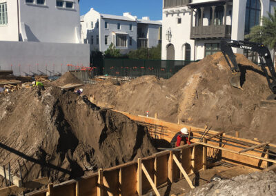 laying foundation for a concrete model home
